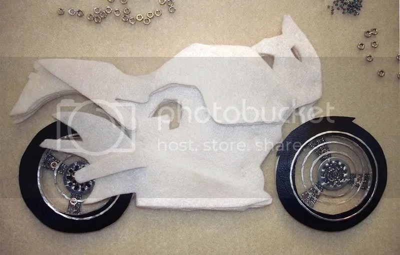 beaded Buell X1 Lightning motorcycle pop art beadwork Boston bead embroidery bike nuts washers wheels