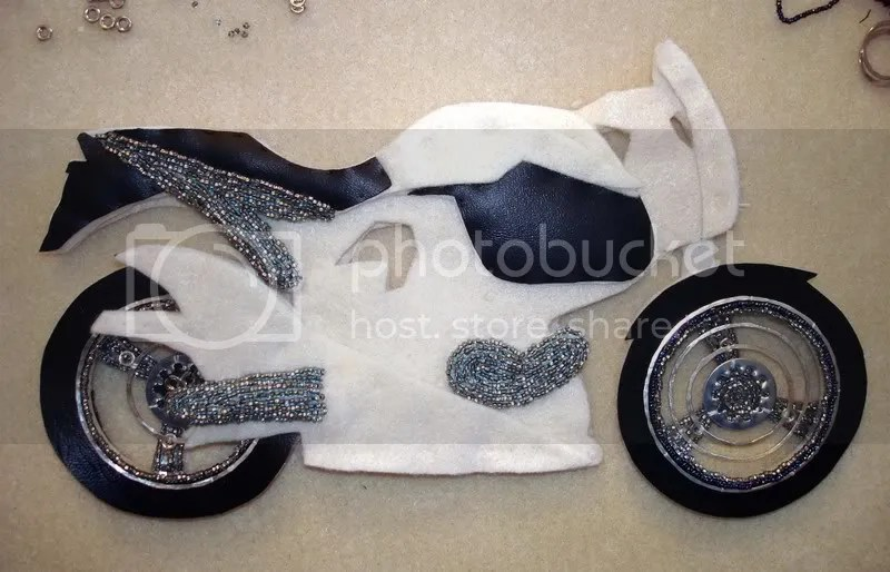 beaded Buell motorcycle bike fiber art pop art bead embroidery seed beads Boston