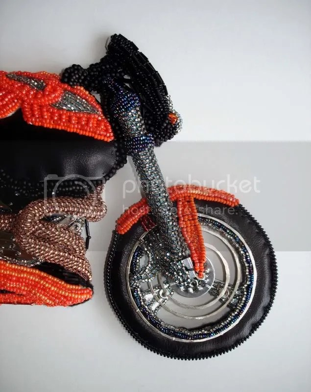 beading blog beaded Buell X-1 lightning motorcycle wheel pop art beadwork bead embroidery