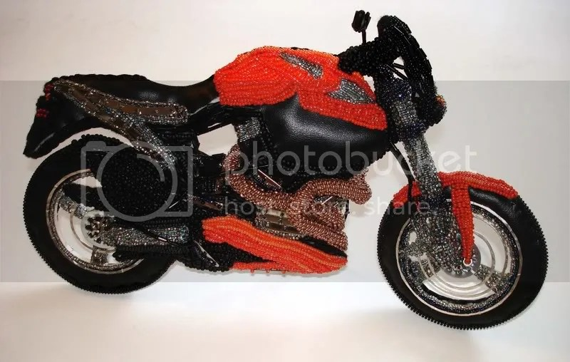 art beading blog bead embroidery beaded Buell motorcycle Boston fire hydrant pop art artist