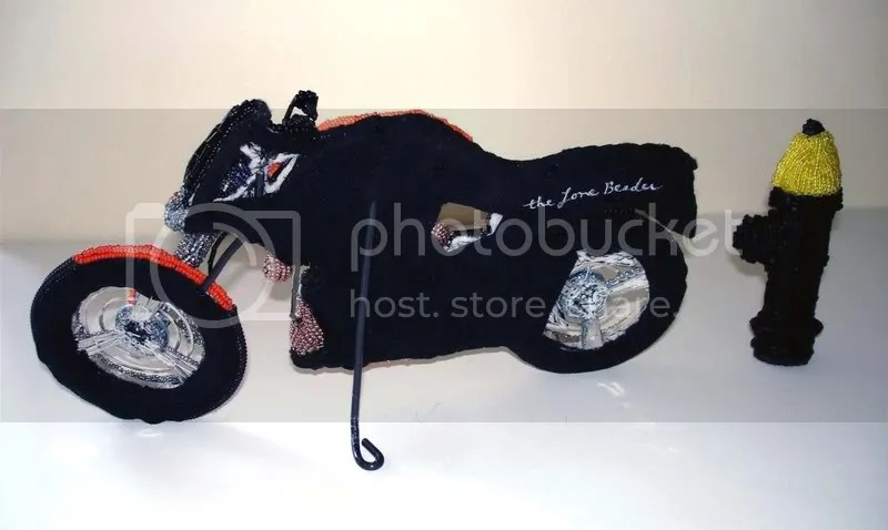 Beaded Buell motorcycle Free parking spot Boston pop art beadwork bead embroidery artist beading blog