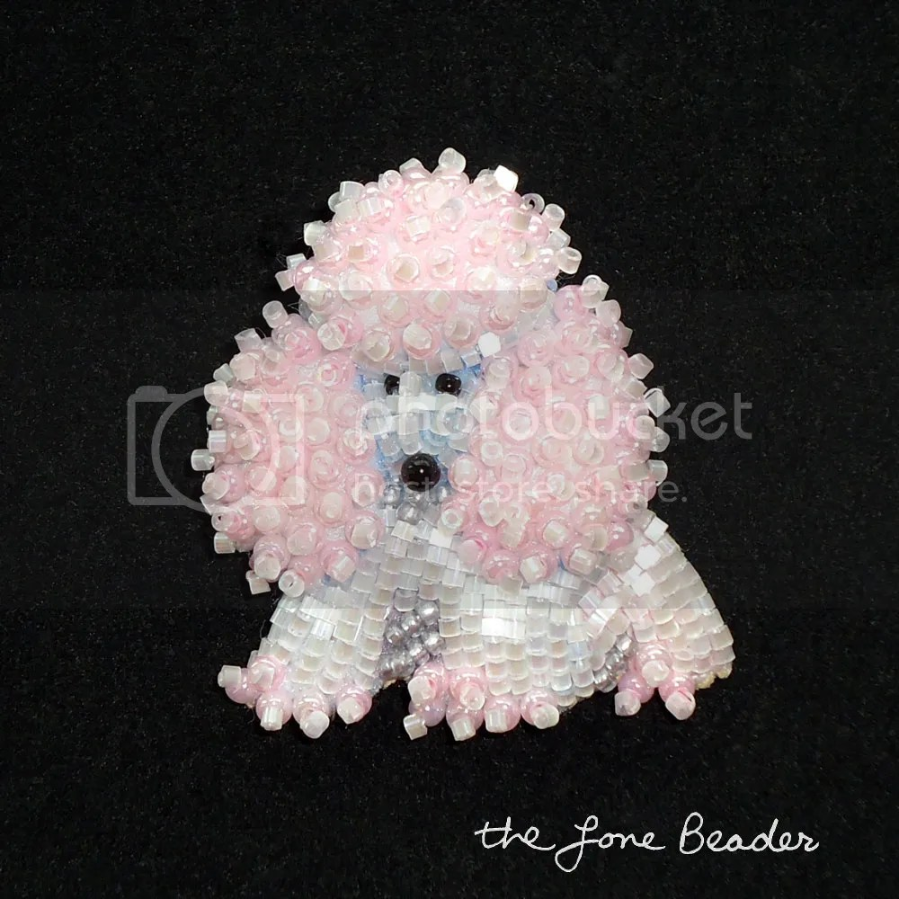 beaded baby miniature pink poodle pendant etsy bead embroidery brooch
