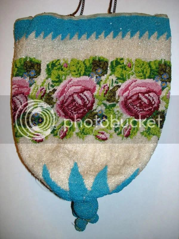 czech beads glass beadwork handbag purse antique Prague Praha Czech Republic Castle Roses