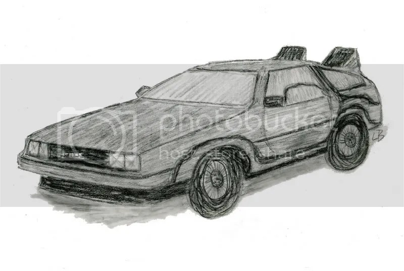 Back to the Future Trilogy 2008 DeLorean bead embroidery beaded pop art sketch DMC flux capacitor
