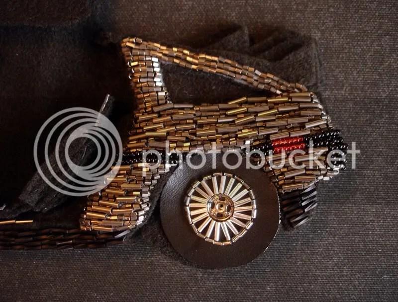 beaded John Delorean DMC-12 bead embroidery pop art beadwork fiber car wheels tires