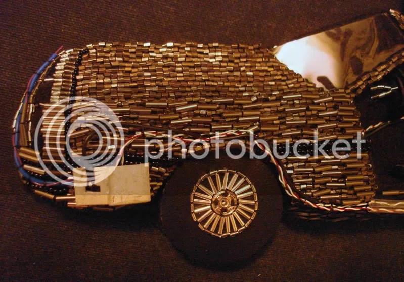 Back to the Future Parts beaded DeLorean pop art beadwork fiber mixed media artist