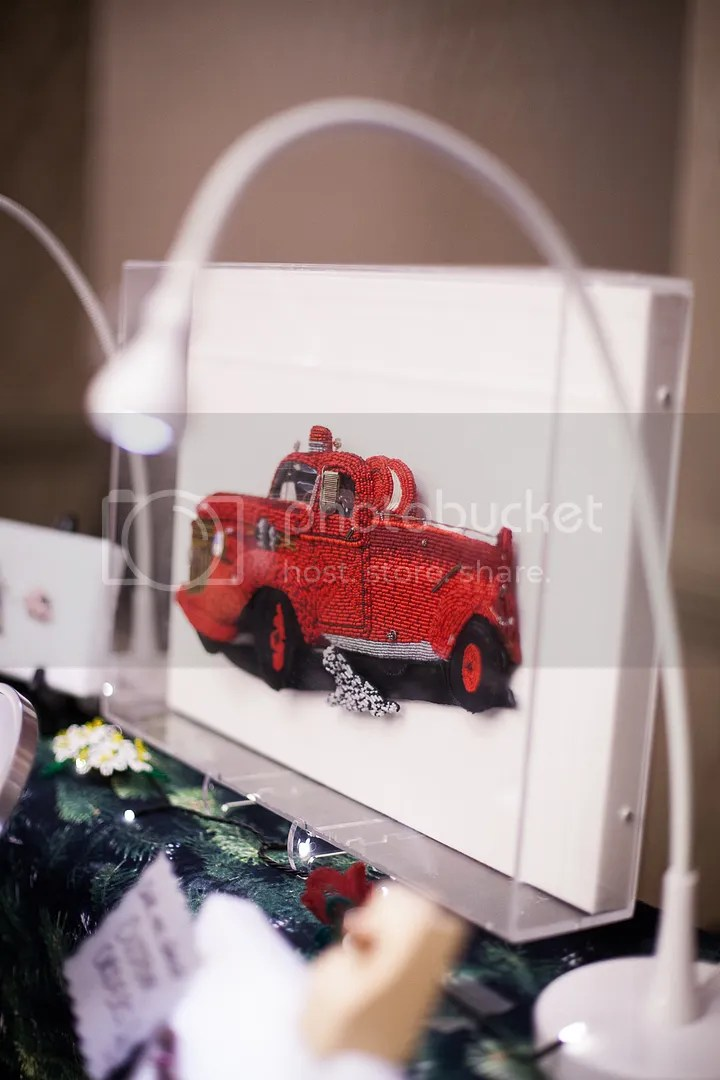 beaded 1943 Chevy fire truck beadwork etsy bead art Boston Sheraton show