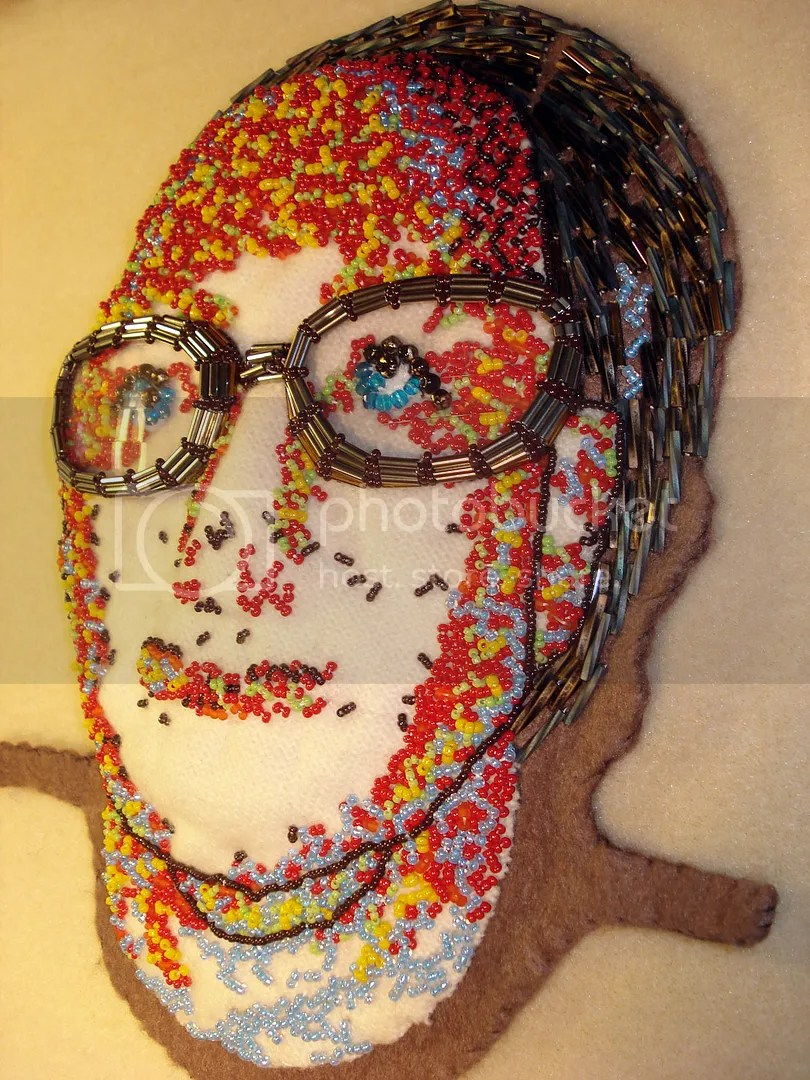 Beaded portrait fiber art bead embroidery eyeglasses lenses frames beads optical shop