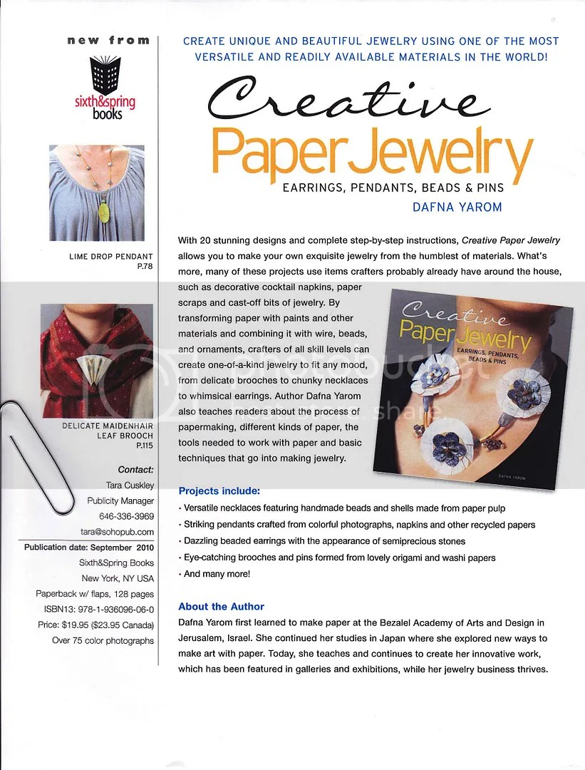 giveaway creative paper jewelry book beads Dafna Yarom wearable art Sixth & Spring Books