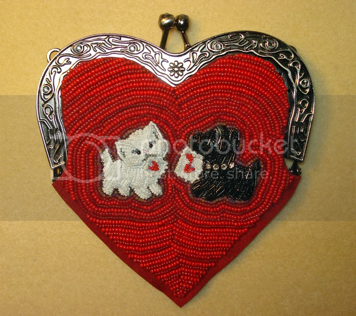 beaded heart shaped purse bead embroidery etsy Valentine's Day scottie dog cat Valentine
