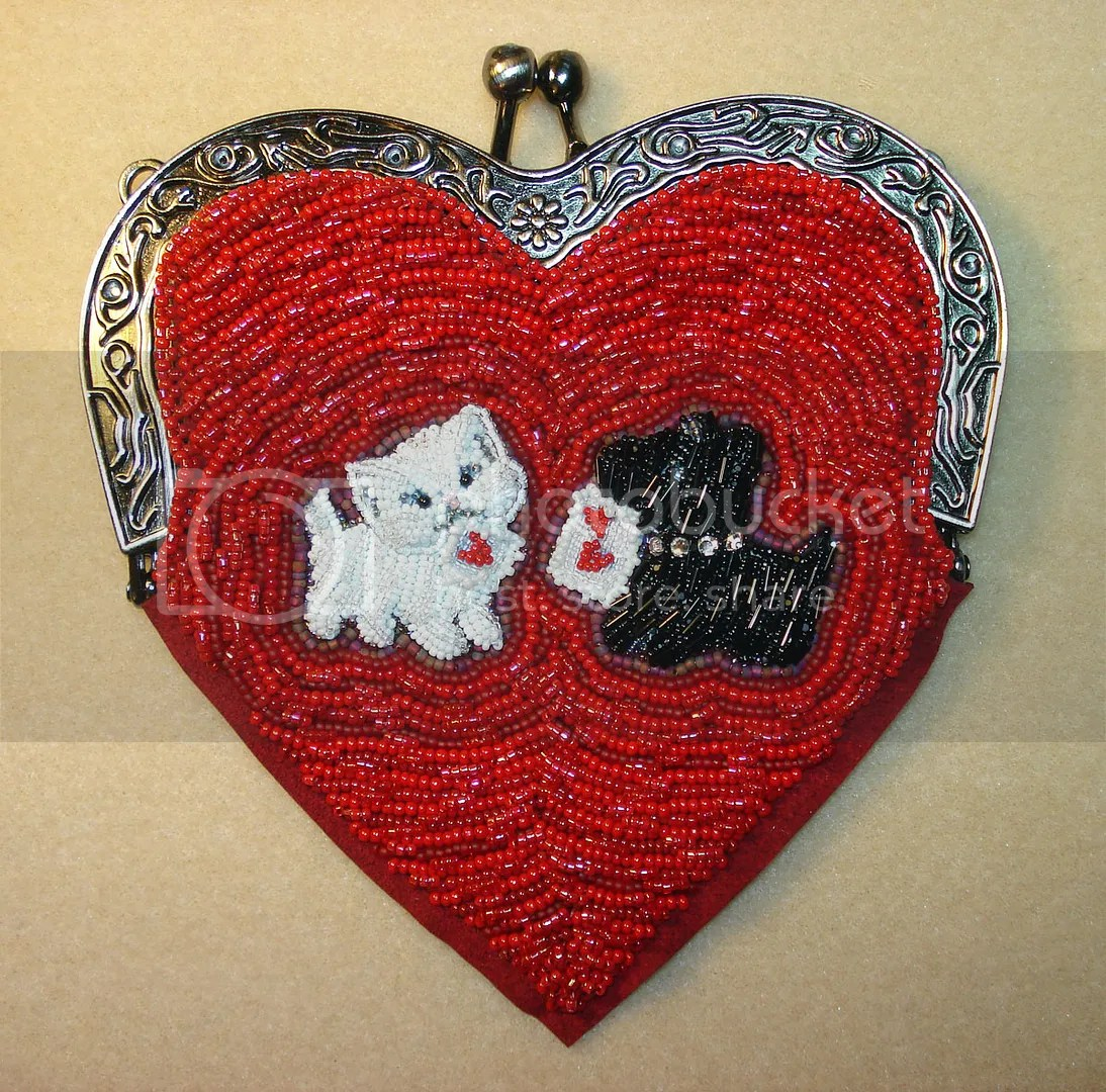 bead embroidery heart shaped purse beaded valentine etsy scottie dog cat
