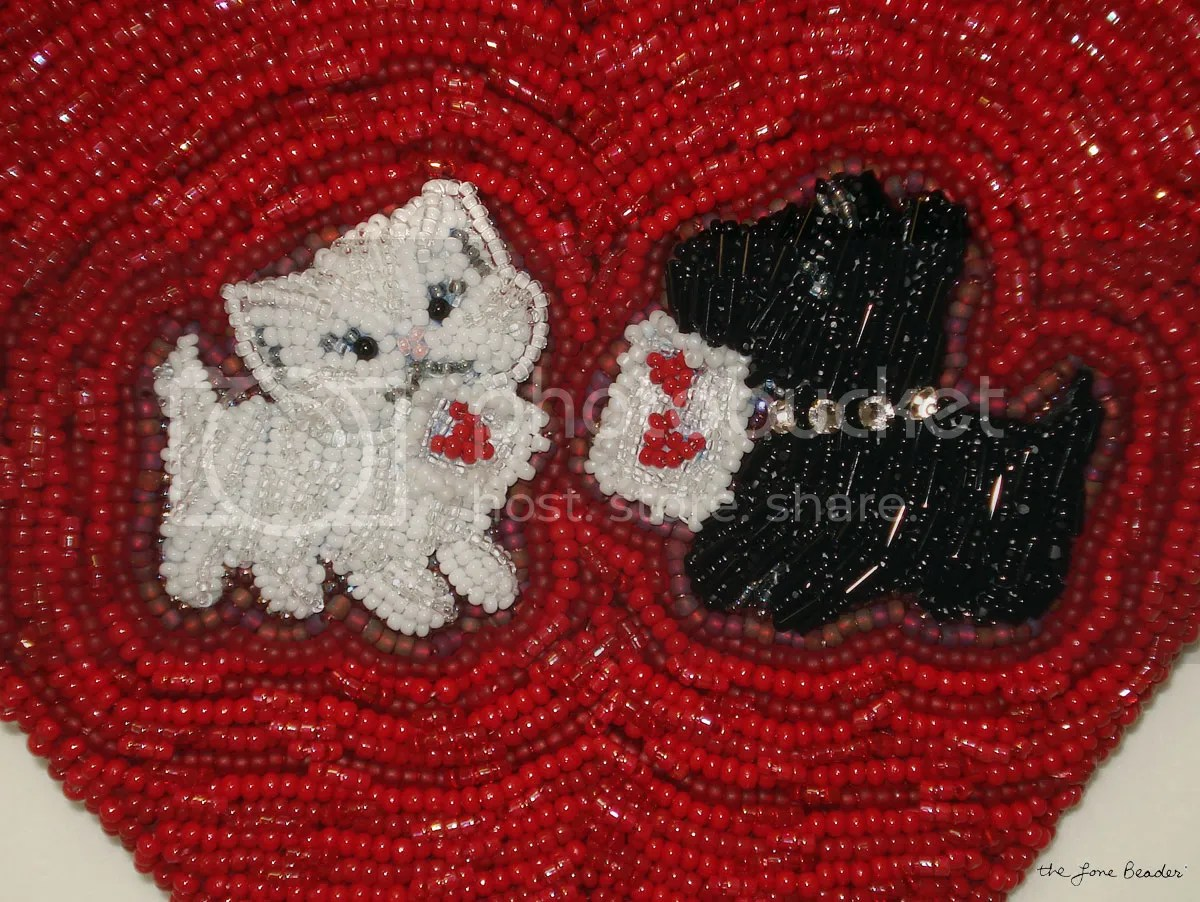 beaded bead embroidery handbag custom etsy order white cat Valentine Scottie Dog