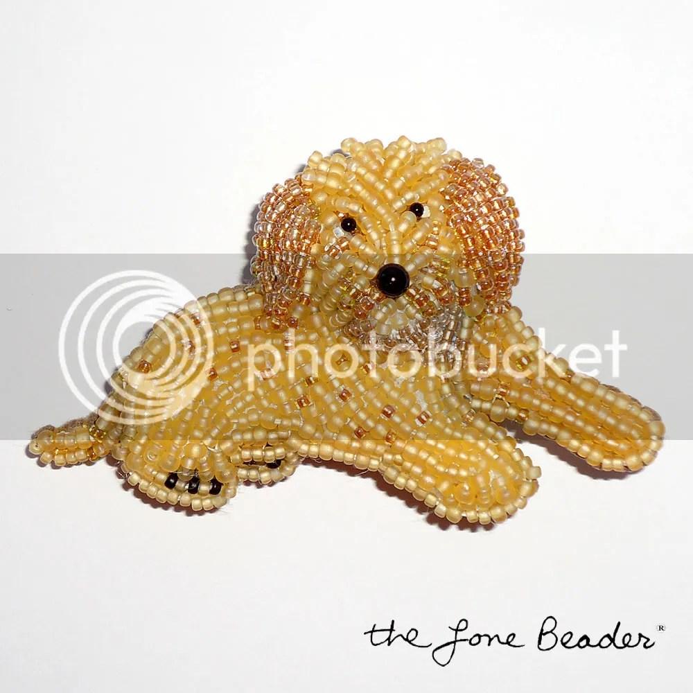 beaded Labradoodle pin pendant Golden Retriever, Golden Doodle, Cockapoo, etsy bead embroidery beadwork