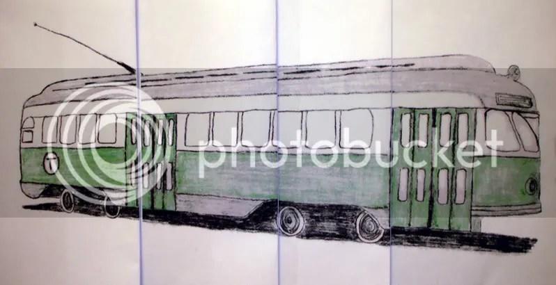 Beaded Boston MA Pullman Standard Green line trolley electric train car bead embroidery pop art sketch