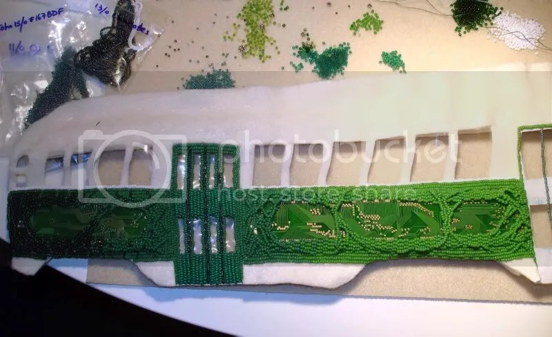 Beaded Boston trolley MBTA T streetcar train subway MA bead embroidery pop art artist workspace seed beads