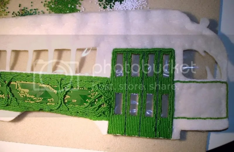 Beaded Boston trolley train bus mbta T bead embroidery pop art artist beading mixed media closed doors future