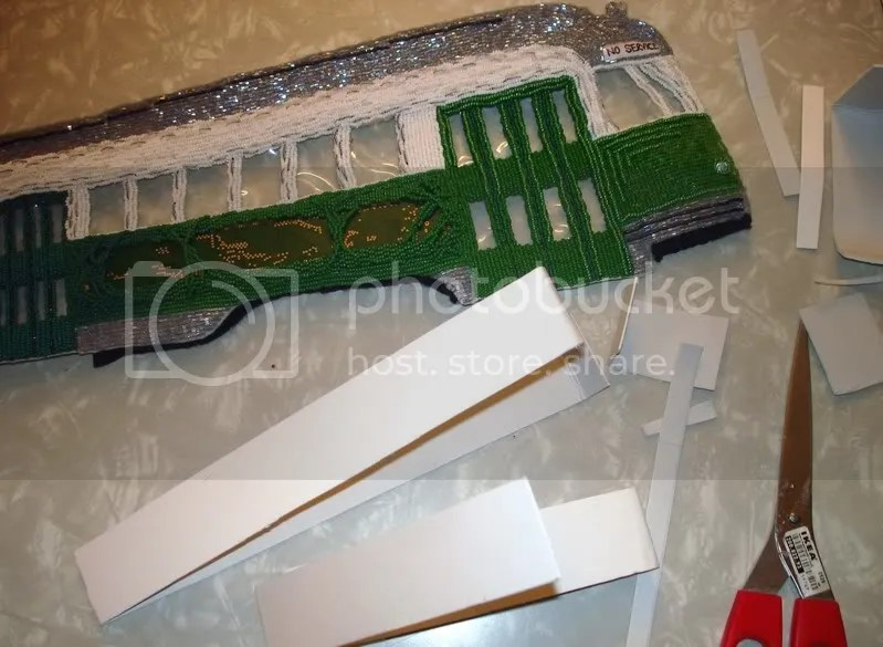 beaded Boston Green Line Trolley train MBTA T bead embroidery seed beads mixed media artist beading MA