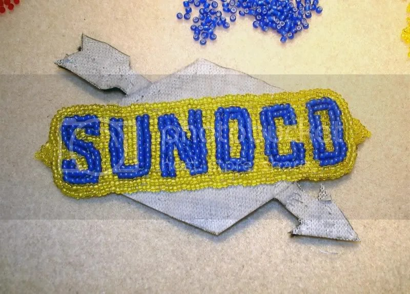 Sunoco station citgo beaded boston trolley pop art bead embroidery artist beadwork beading seed beads