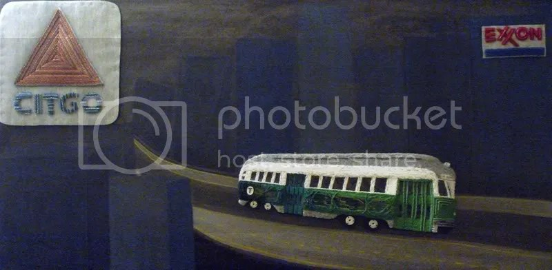 Beaded Boston trolley green line train PCC Citgo sign bead embroidery pop art artist painting mixed media