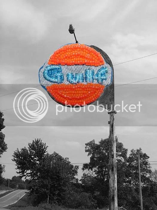 Beaded Boston trolley citgo gulf gas oil sign MBTA bead embroidery pop art beading