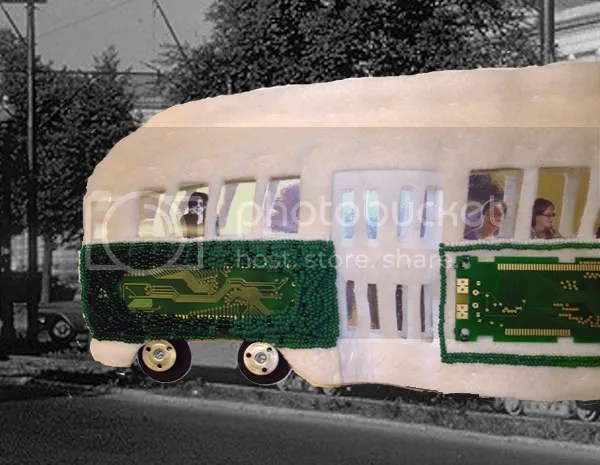Beaded Boston pcc trolley train cars pop art green line T beads red sox ric ocasek pullman