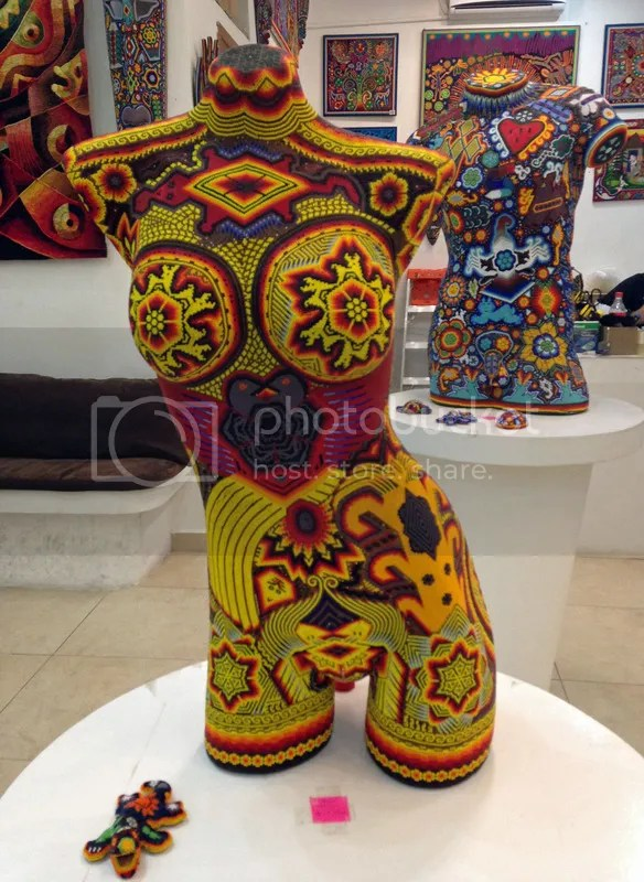 Beaded torso Mexican Huichol bead art Playa del Carmen souvenirs Cancun Mexico Riviera Maya