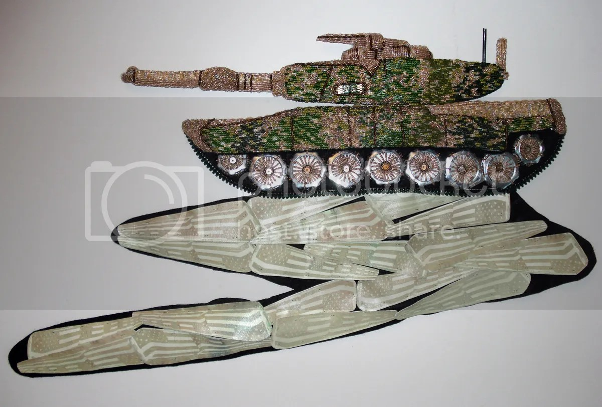 beaded camo camouflage print military Afghanistan U.S. fallen soldiers coffins pop art war bead embroidery