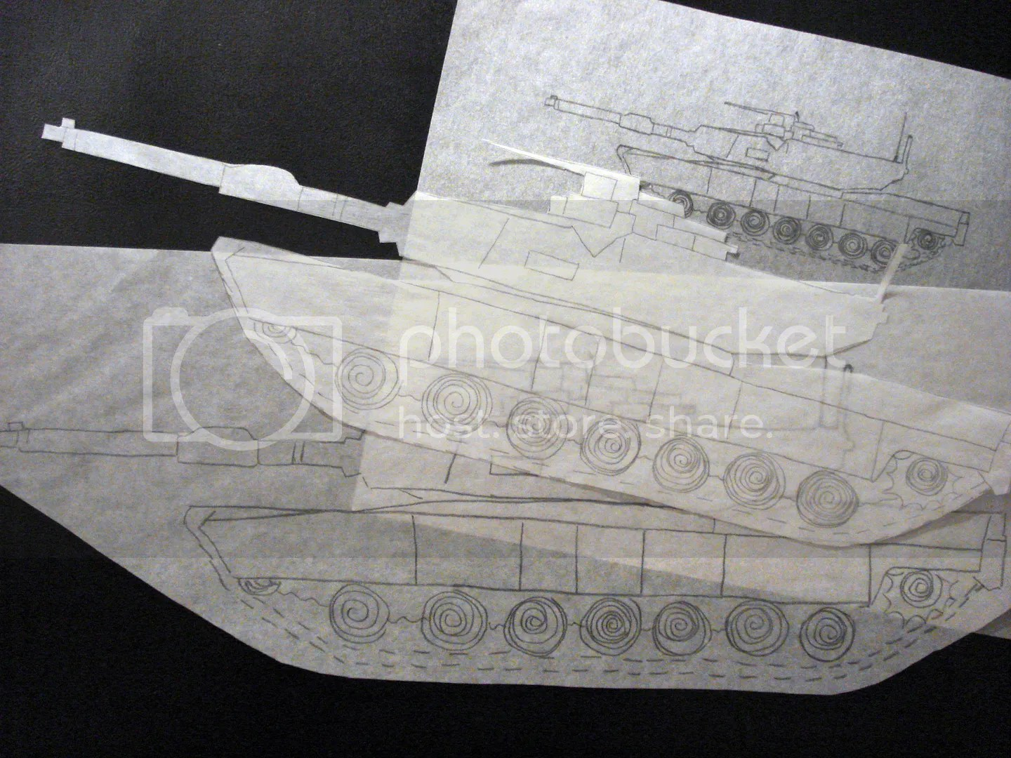 U.S. Military M1 Abrams main battle tank sketch drawing bead embroidery felt project
