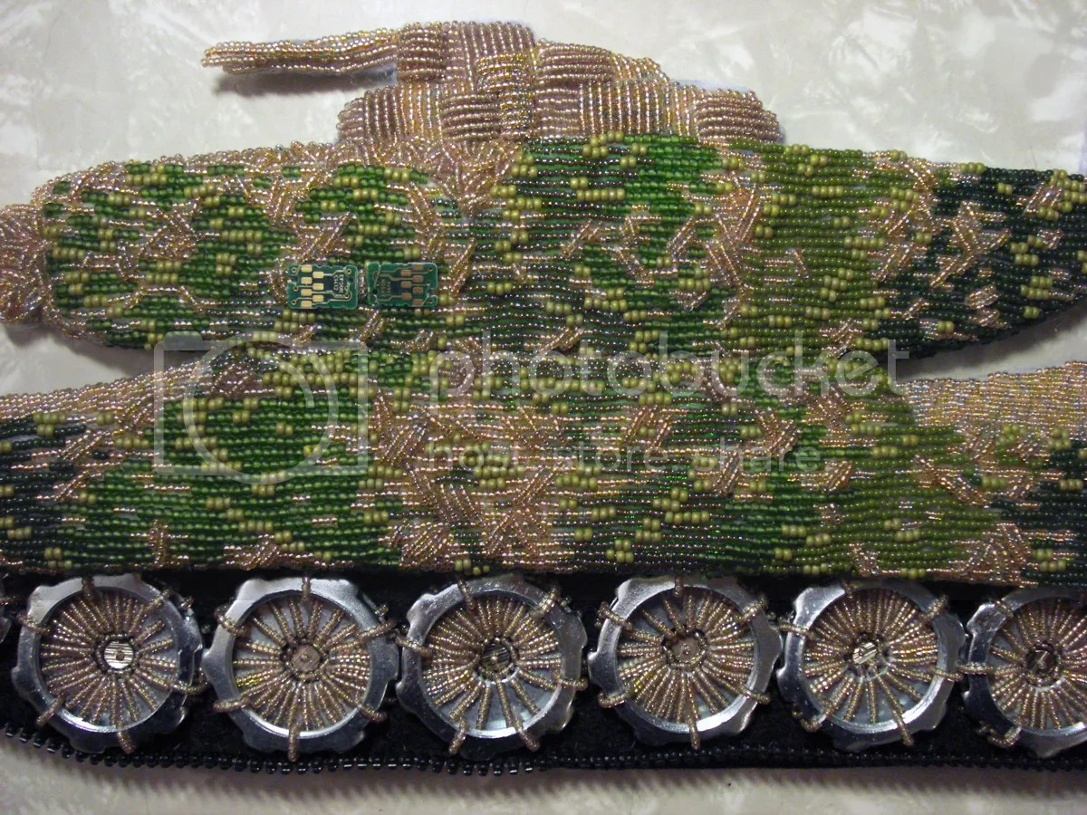 beaded camo camouflage print military Afghanistan U.S. pop art war bead embroidery