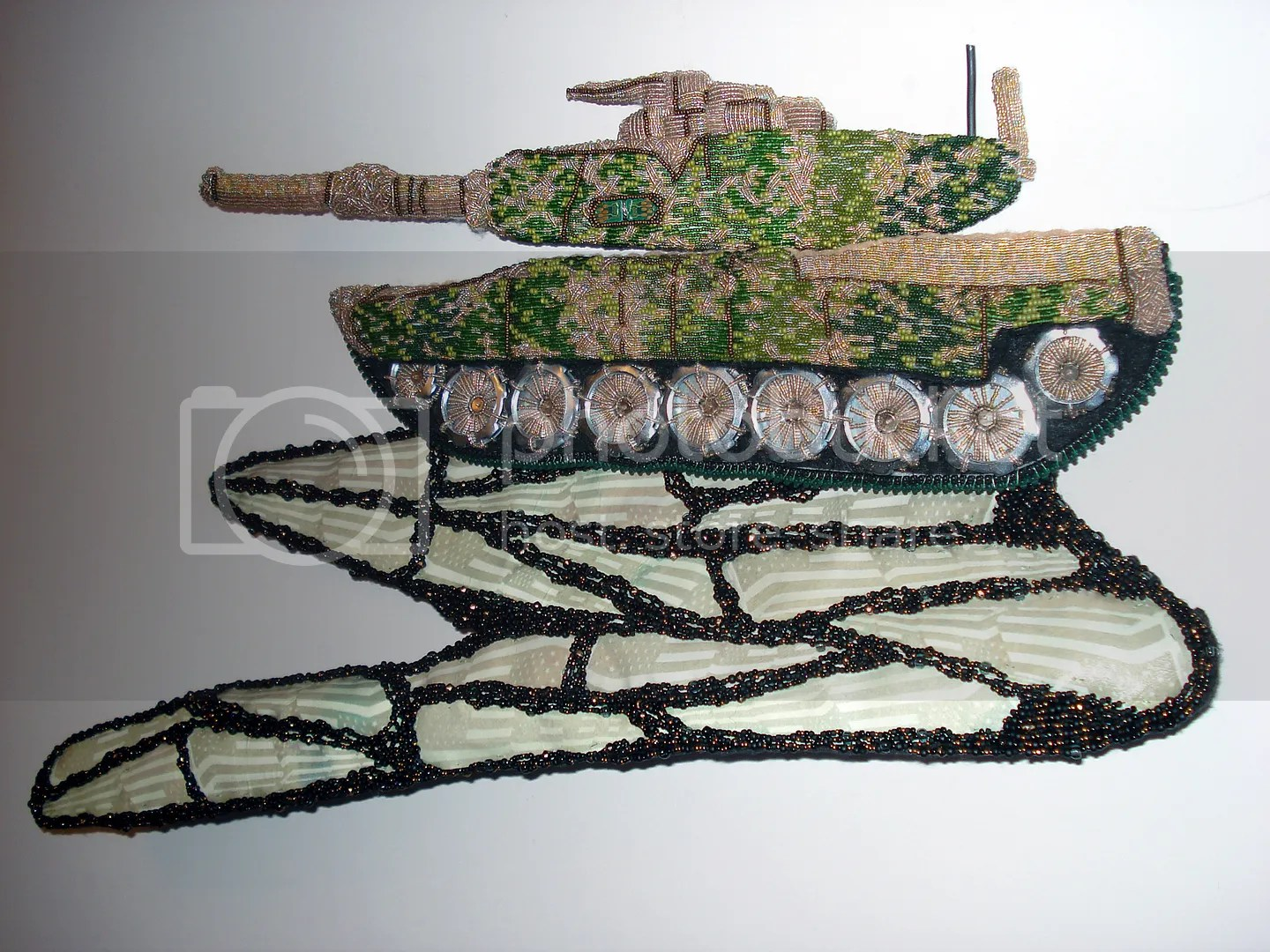 beaded camo camouflage print military Afghanistan fallen soldiers U.S. pop art war bead embroidery
