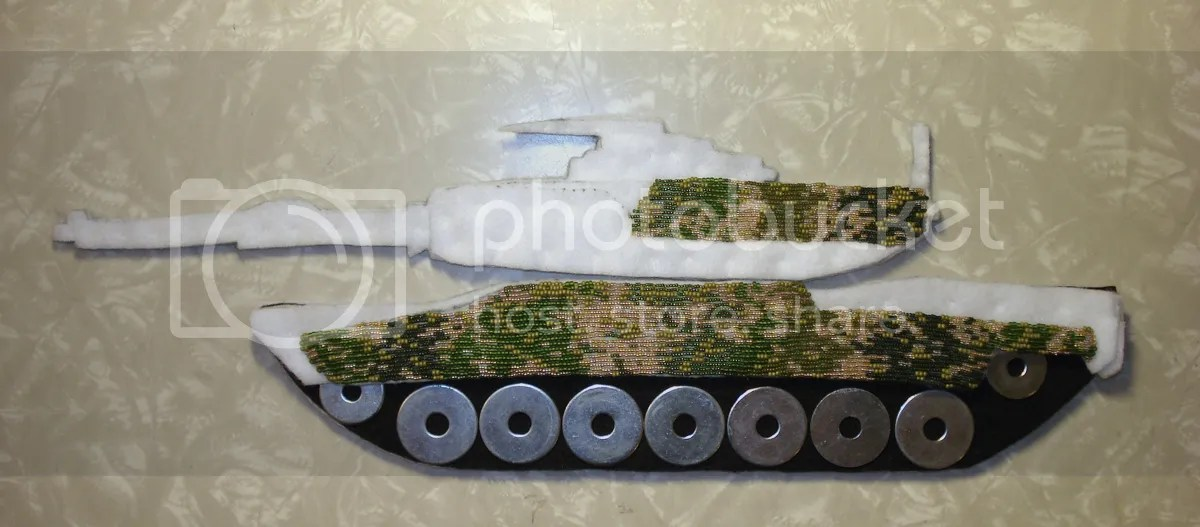 beaded camo camouflage print M1 Abrams tank Afghanistan U.S. pop art war bead embroidery