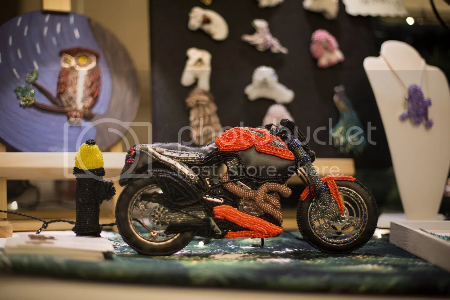 Holiday Pet Shoppes 2012 beaded motorcycle display first craft show booth etsy