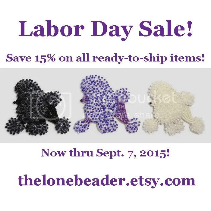 Beaded Poodles Labor Day Sale on Etsy beadwork bead embroidery dog jewelry 15% off Amazon Handmade