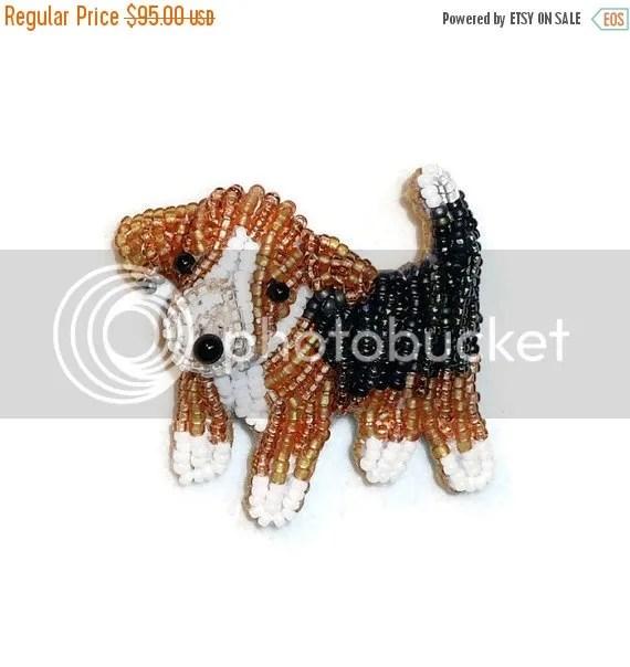 Tiny Beaded Beagle Jewelry Bead Embroidery Veteran's Day Sale Etsy Amazon Handmade