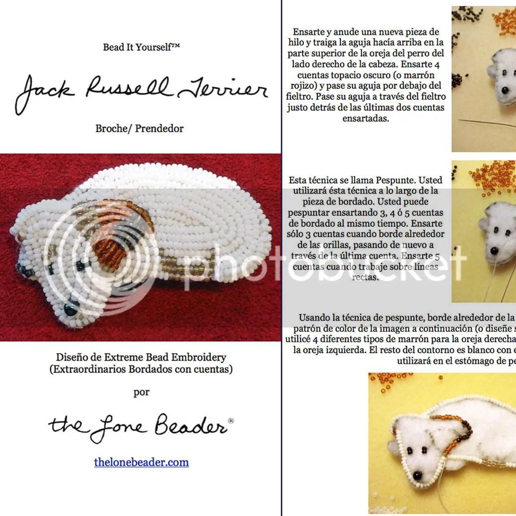 PDF: JACK RUSSELL Terrier Tutorial de bordado con cuentas del prendedor o pendiente de perro Etsy español Spanish Beading pattern