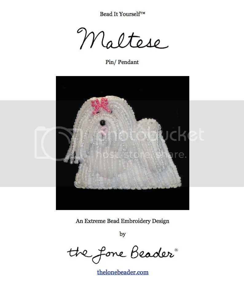 beaded Maltese dog jewelry beadwork bead embroidery beading pattern etsy PDF