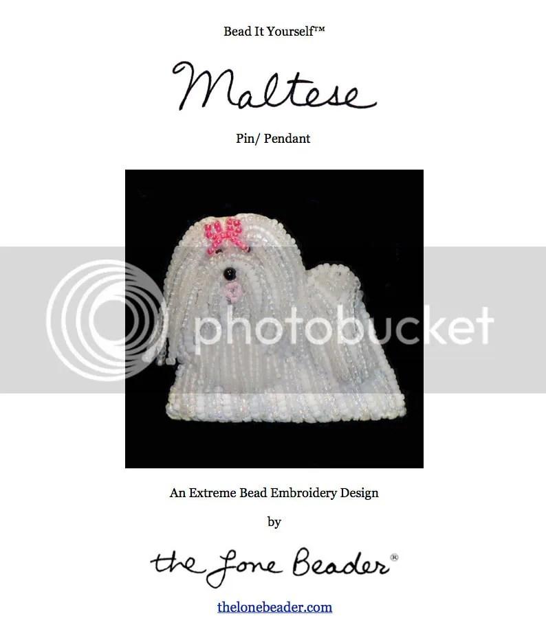 beaded Maltese dog jewelry beadwork bead embroidery beading pattern etsy PDF