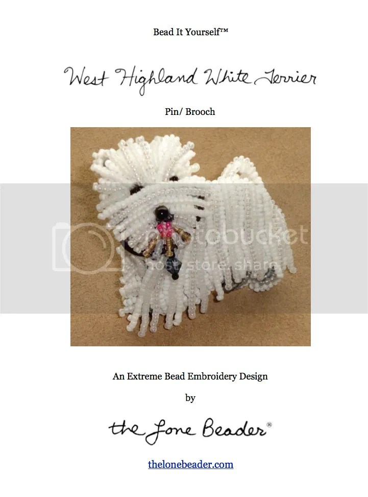 bead embroidery pattern for sale on etsy beaded westie terrier dog pin pendant