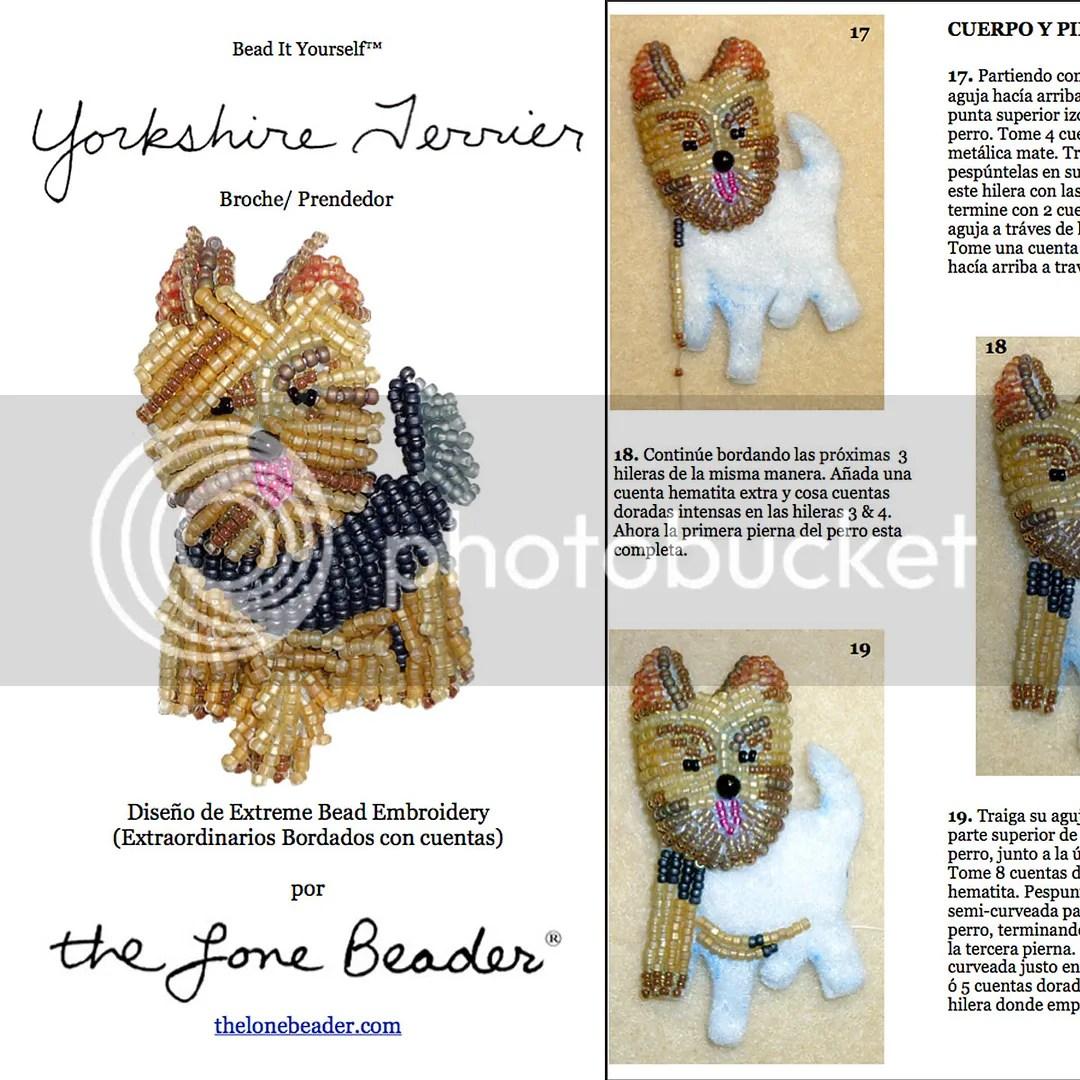Yorkie Yorkshire terrier beading bordado a mano patrón en español etsy craftsy
