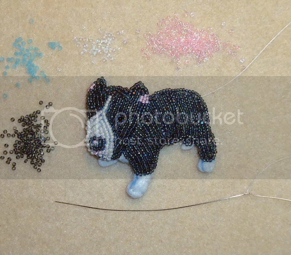 bead embroidery seed beads beadwork gray pit bull dog pin beading