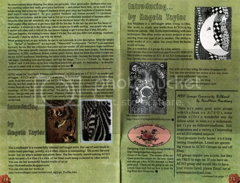 ACEO Magazine artist trading cards the lone beader bead embroidery mini bead painting zebra tiger