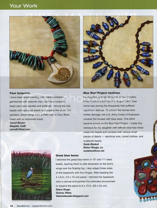 Bead & Button Magazine -Your Work- December 2007. Diana Lynn Grygo. The Lone Beader. Great Blue Heron. Bird watching.