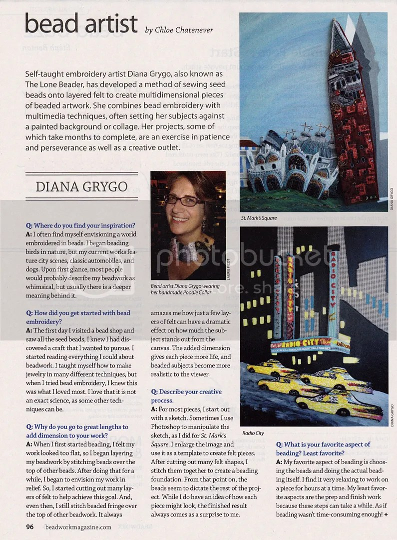 Beading Daily Bead Artist Beadwork Magazine Feature Diana Grygo Interview The Lone Beader Boston Cambridge