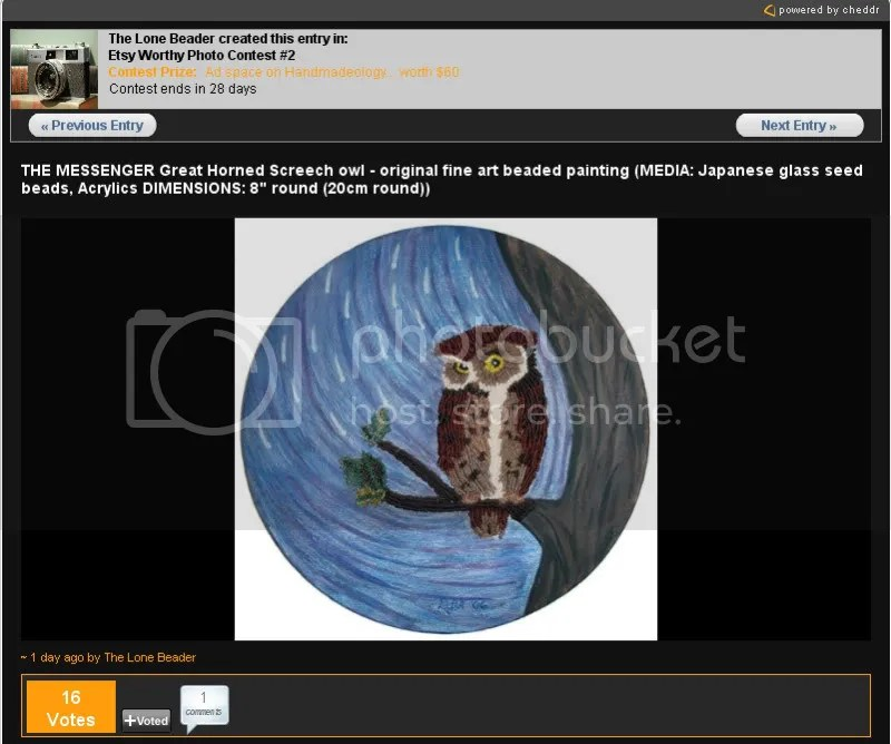 Timothy Adams Designs Etsy Worthy Photo Contest Messenger beaded owl mixed media fine art painting