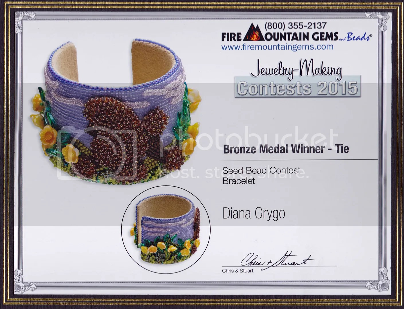 Fire Mountain Gems Seed Beading Jewelry Making Contest WInner Bead embroidery Poodle bracelet Diana Grygo The Lone Beader