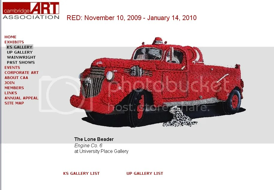 beaded fire truck bead embroidery pop art Cambridge Art Association RED carl Belz boston artist lone beader