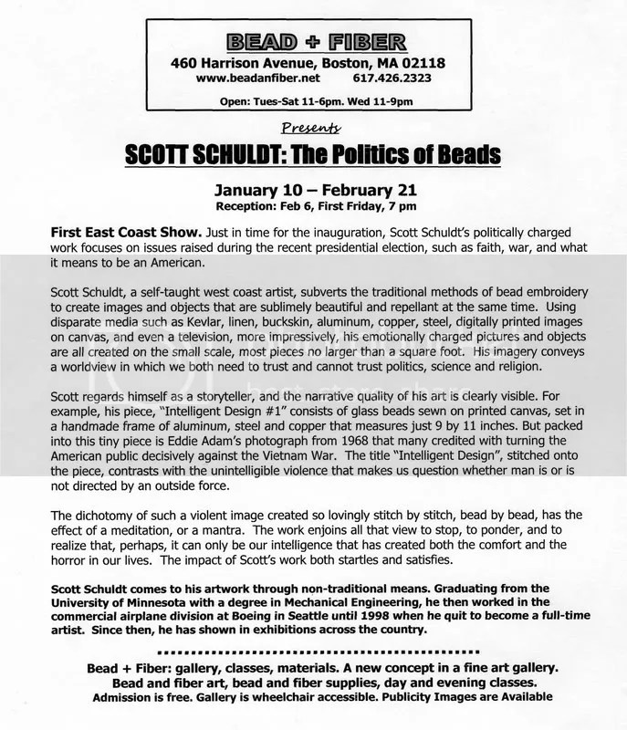 bead artist Scott Schuldt: Politics of Beads Bead + Fiber gallery harrison ave. Boston, MA