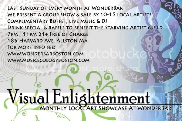 Visual Enlightenment Music Ecology local Boston artists beadwork Wonder Bar monthly exhibit 21+ Free admission