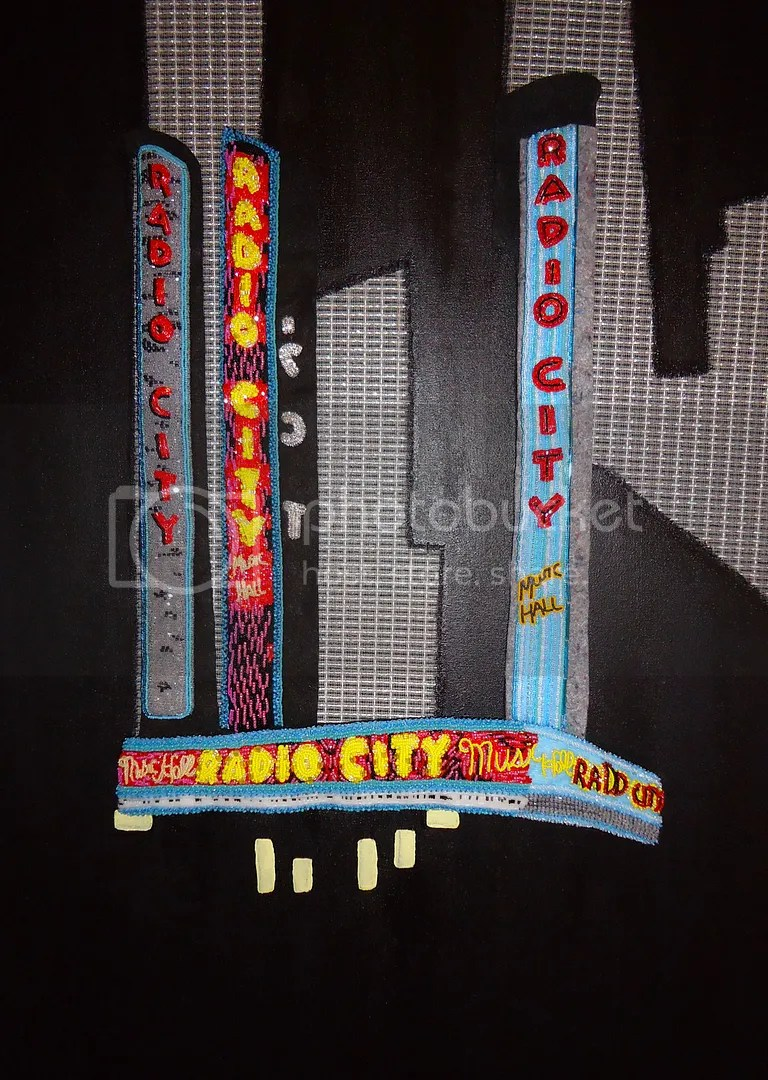 beaded radio city music hall mixed media beadwork pop art NYC street scene