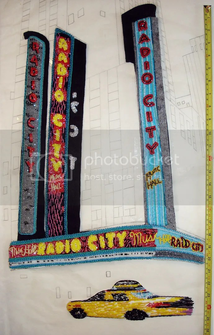 beaded Radio City Music Hall NYC street scene bead embroidery painting